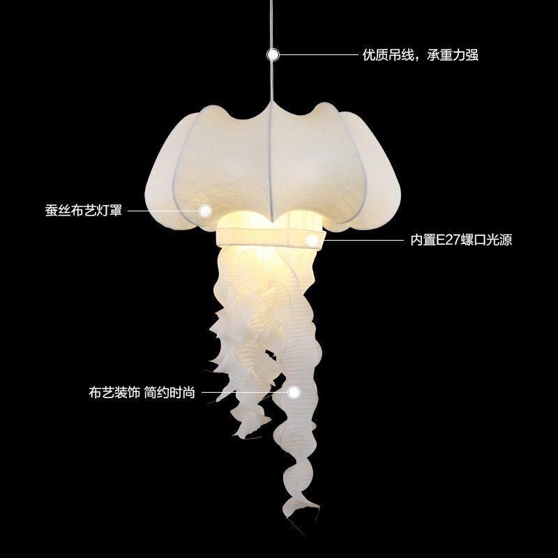 Silk fabric Jellyfish pendant lights decorative corridor restaurant clothing store white cloth hone lighting lamps ZA ZS93