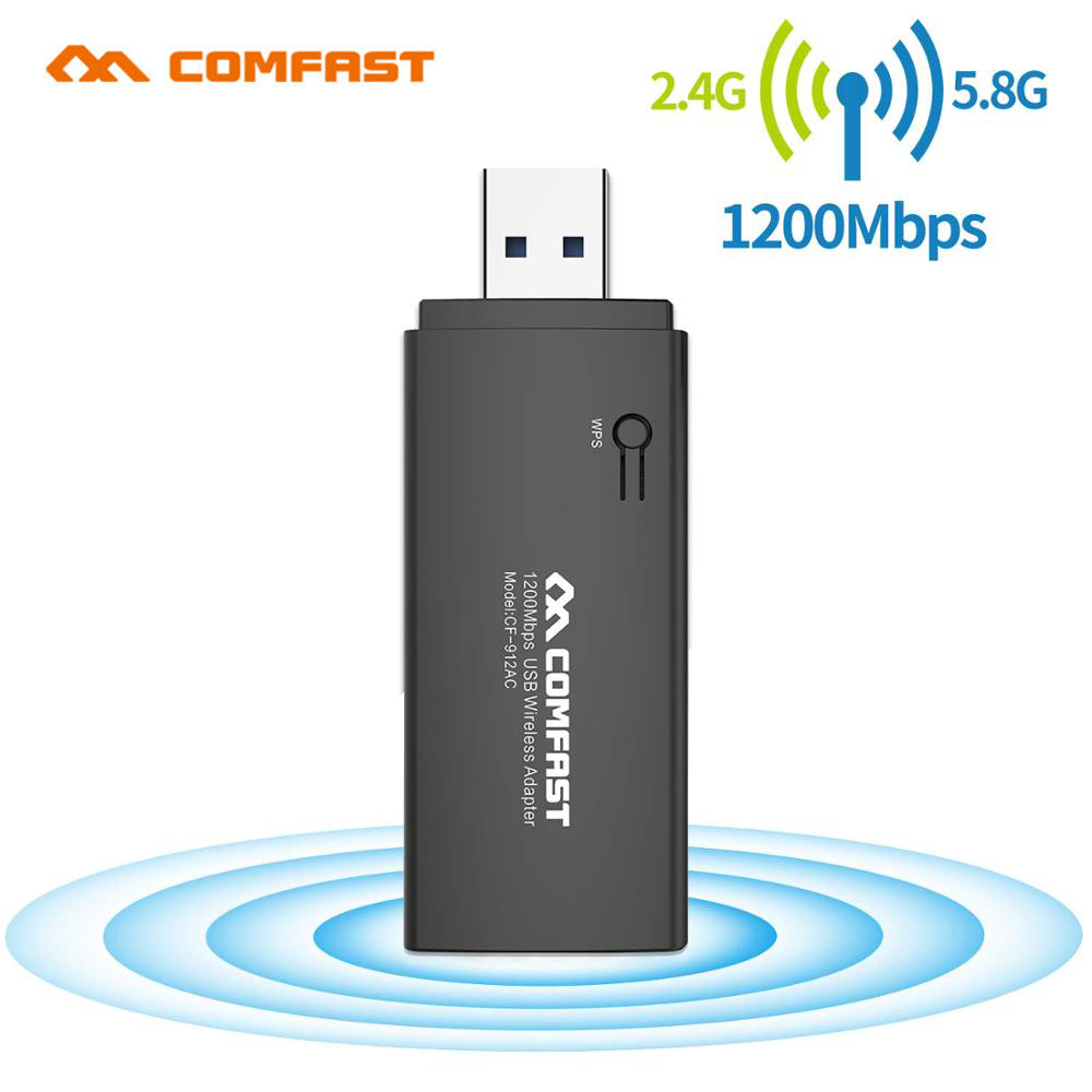 COMFAST Wireless 1200Mbps WiFi Adapter USB 3.0 Dual Band 2.4G/5.8G Neckwork Adapters For Desktop Laptop Compatible Window MAC OS