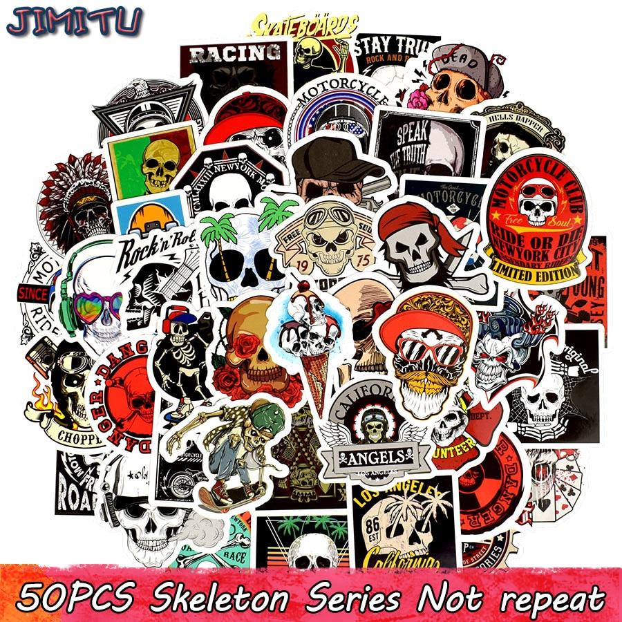 50 PCS Punk Skeleton Sticker Graffiti Skull Rock Motorcycle Stickers To DIY Scrapbooking Laptop Skateboard Suitcase Guitar Car