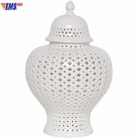 Chinese Style White Hollow Out Ceramics Military Altar Abstraction Porcelain Cover Band Storage Pot Desktop Decoration X1664