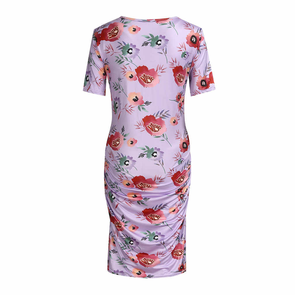 ARLONEET Women's O-Neck Maternity Pregnanty Short Sleeve Summer Floral Print Dress For Pregnant Women Dresses Vestidos 19May P30
