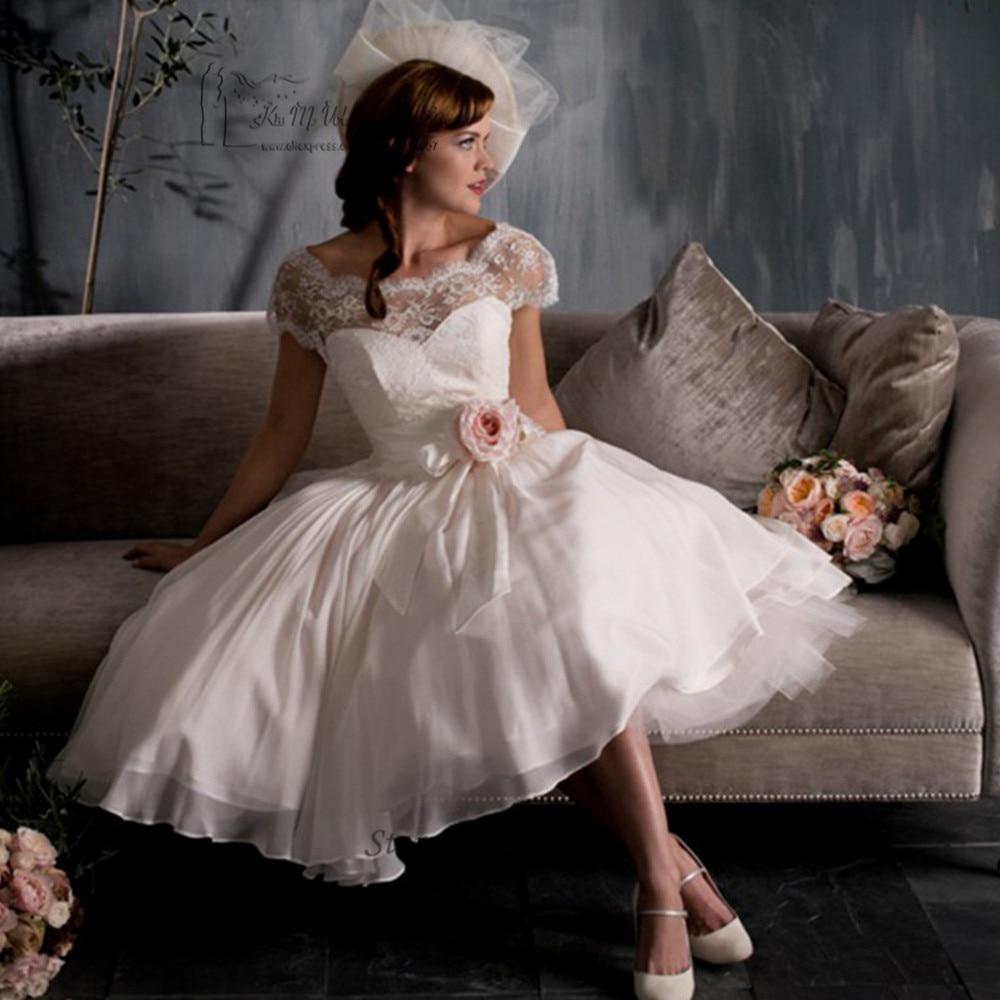 Vestido de Noiva Curto Дешевое винтажное Короткое свадебное платье розовые кружевные платья невесты с цветами свадебные платья до колена с рукавами