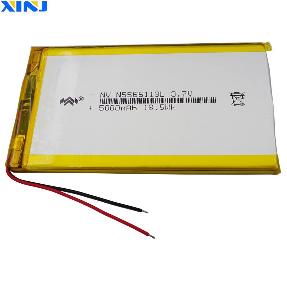 XINJ <font><b>3.7V</b></font> <font><b>5000mAh</b></font> lithium polymer <font><b>battery</b></font> <font><b>lipo</b></font> cell 5565113 For GPS PSP ipod E-book PAD Portable Power bank tv box DVD Tablet PC image