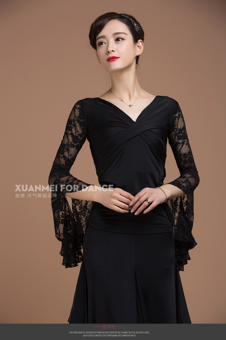 Black  Lace Flamenco Dance Tops Square/Latin  Top Blouse For Female/women/girl Pratice Size S-XXL YB0602