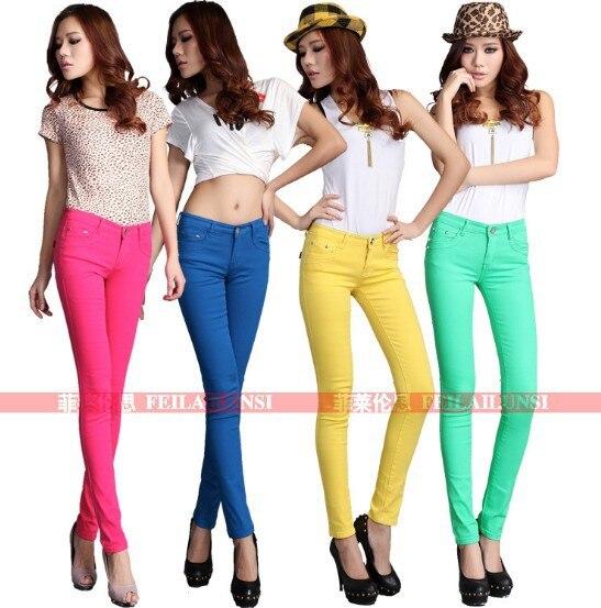 Drop shipping 18 couleurs 2017 nouvelles Femmes Sexy Couleurs De Bonbons  Crayon pantalon Slim Fit Skinny Stretch Jeans Pantalons taille 26 31 en  stock dans ... dab1ad16838a