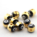 50pcs Gold Evil Eye Spacer Beads Pendant  Round Enamel 2 side Evil Eye Pattern 5x6mm