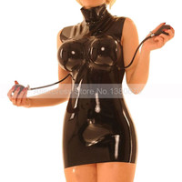 Unisex Rubber Latex Dress with Inflatable Breast Latex Wear Plus Size S LD273