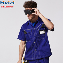 Mens Polyester Cotton Short Sleeves Work Shirts Workwear Cloth Working Uniform Free Shipping