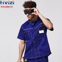 Men's Polyester Cotton Short Sleeves Work Shirts Mens Workwear Cloth Mens Working Uniform Shirts Free Shipping