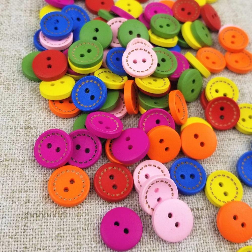 100pcs 15mm Colorful Round Wood Flatback DIY Wooden Buttons Sewing Craft Sc B8K8