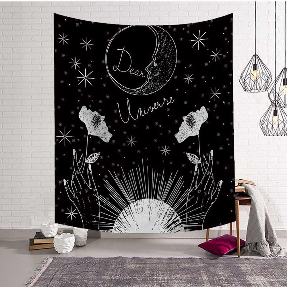 GT8053-2 Mandala Tapestry Wall Hanging Witchcraft Hippie Beach Throw Rug Carpet Sun Moon Tapestries Bohemian Home Art Psychedelic Decor