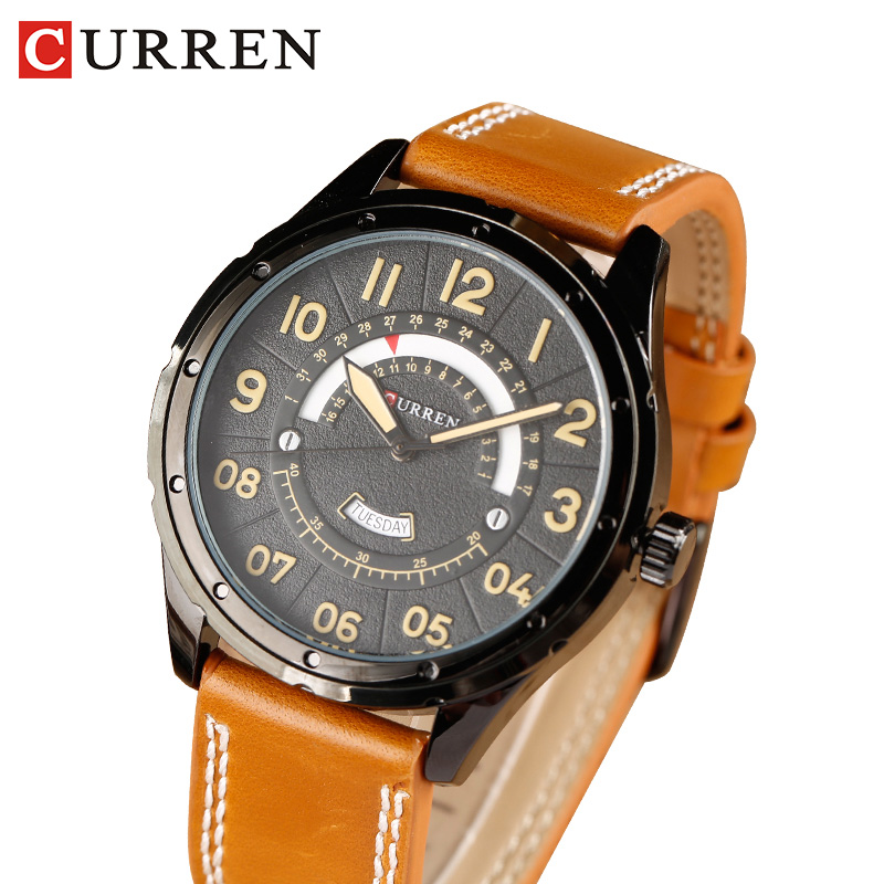 2017 CURREN Watches  Fashion Casual Men watch Sport Clock Male Military Quartz Wristwatch Leather Watch Relogio Masculino 8267 new listing men watch luxury brand watches quartz clock fashion leather belts watch cheap sports wristwatch relogio male gift
