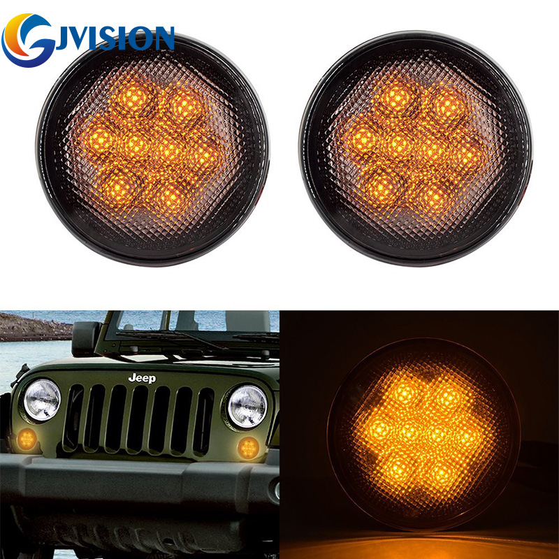 LED Yellow Front Replacement Turn Signal Light Assembly With Smoke Lens for 07-16 Jeep Wrangler JK Sahara Rubicon 4pcs black led front fender flares turn signal light car led side marker lamp for jeep wrangler jk 2007 2015 amber accessories