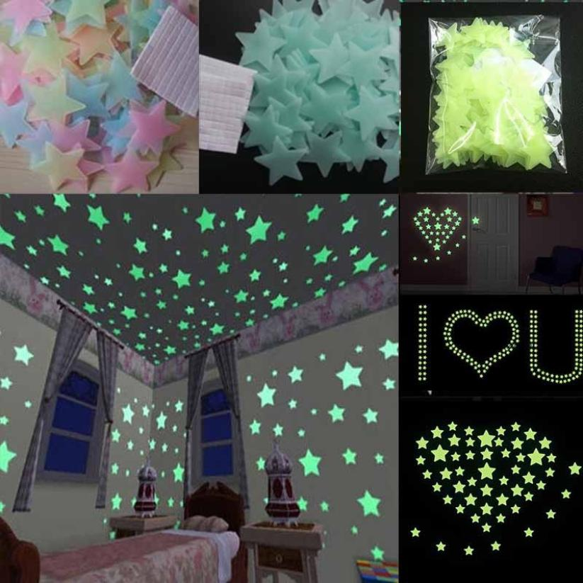 100PC Kids Bedroom Fluorescent Glow In The Dark Stars Wall Sticker Plastic DIY Removable 3D Wall Stickers Living Room Home Decor