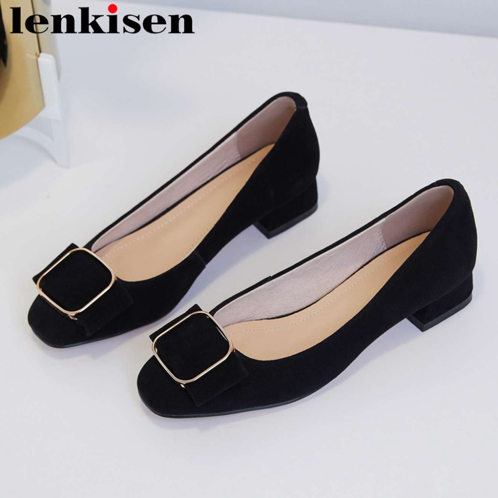 Lenkisen Superstars Gennuine Leather Low Heels Classic Square Toe Metal Buckle Decoration Office Lady Dating Driving Shoes L10