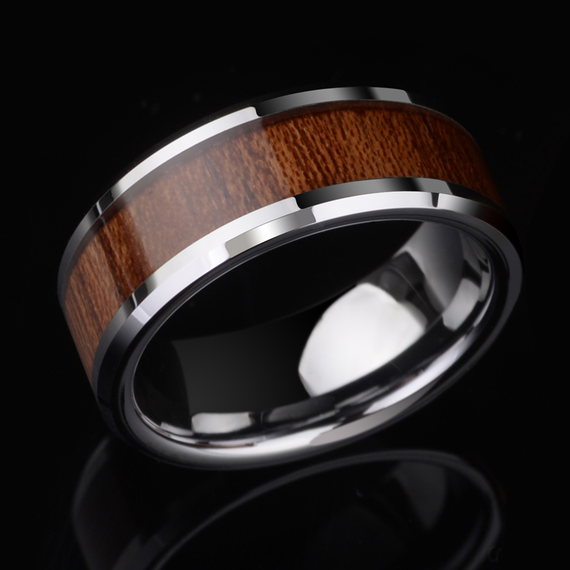 купить New Arrival 8mm Width Tungsten Carbide Rings for Man's Jewelry High Polished Inlay Koa Wood Comfort Fit Scratch Proof Size 7-11 по цене 2175.24 рублей