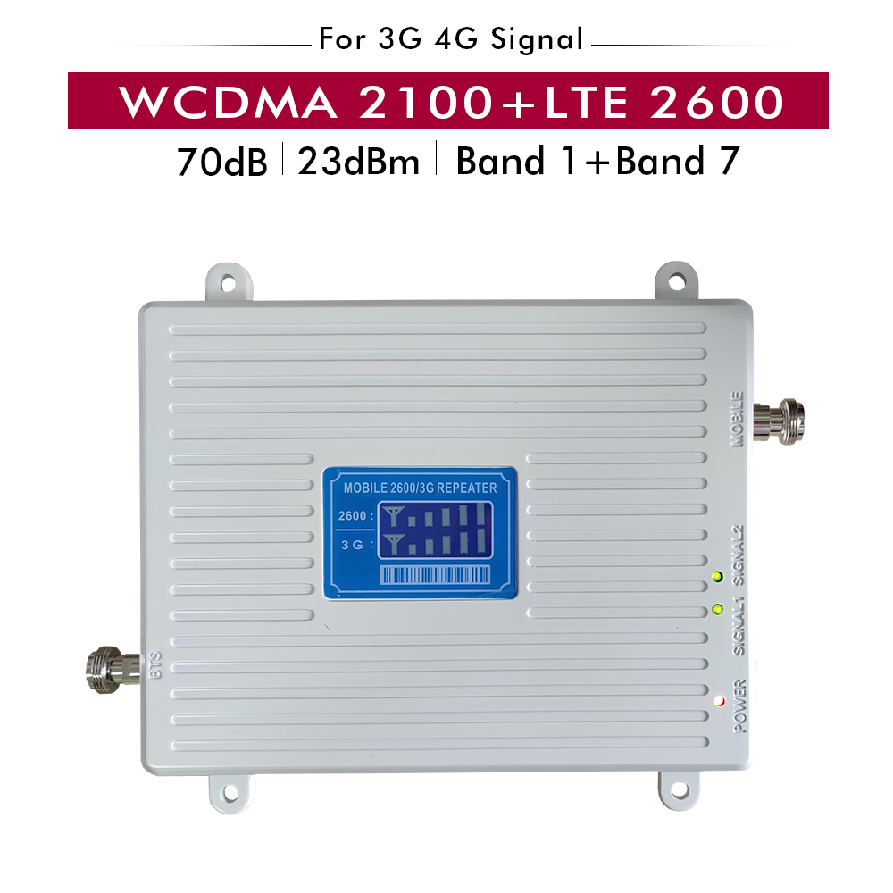 Dual Band Signal Booster 3G UMTS WCDMA 2100mhz(Band 1)+4G FDD LTE 2600mhz (Band 7) Cell Phone Signal Repeater Cellular Amplifier