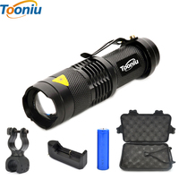 Mini LED Torch 2000LM CREE Q5 T6 LED Flashlight Adjustable Focus Zoom Flash Light Lamp with bike Clip