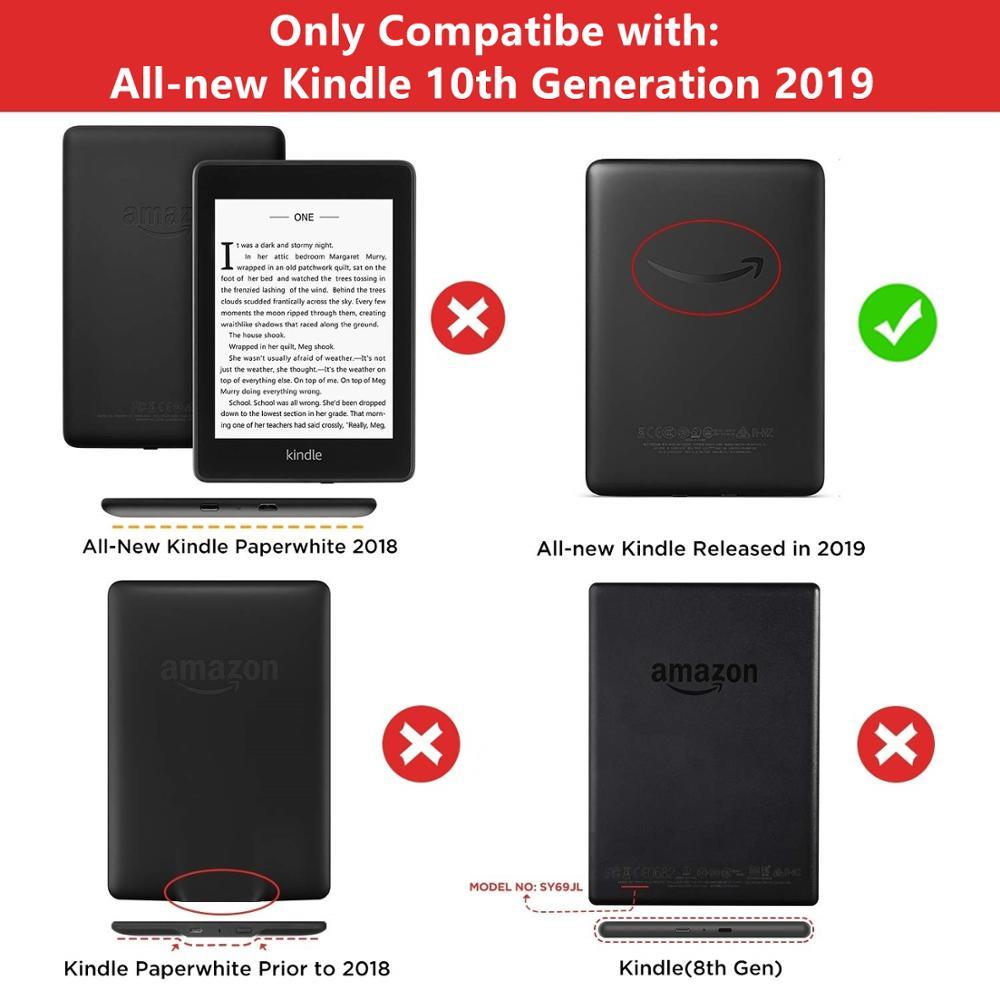 Чехол для Kindle 2019 из искусственной кожи с текстурой ткани, умный чехол для ПК, Жесткий Чехол для всех, новинка Kindle 10th J9G29R, 2019-1