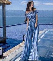 New Striped Women Summer Beach Boho Maxi Dress 2017 Summer High Quality Brand Striped Print Long