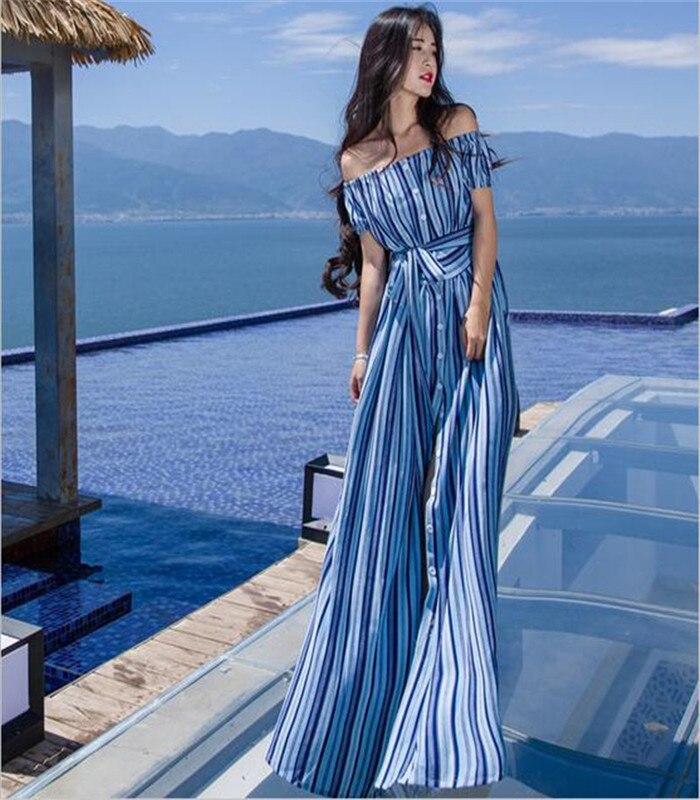 New Striped Women Summer Beach Boho Maxi Dress 2018 Summer High Quality Brand Striped Print Long Dresses Feminine Dress A2957 женское платье dress new brand 2015 summer women dress