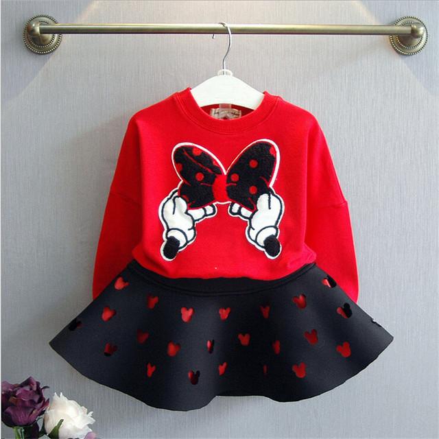 2-7 años niños ropa de bebé niñas establece nuevo otoño cartoon sudaderas rojas + negro falda conjunto ropa de las muchachas ropa de los niños