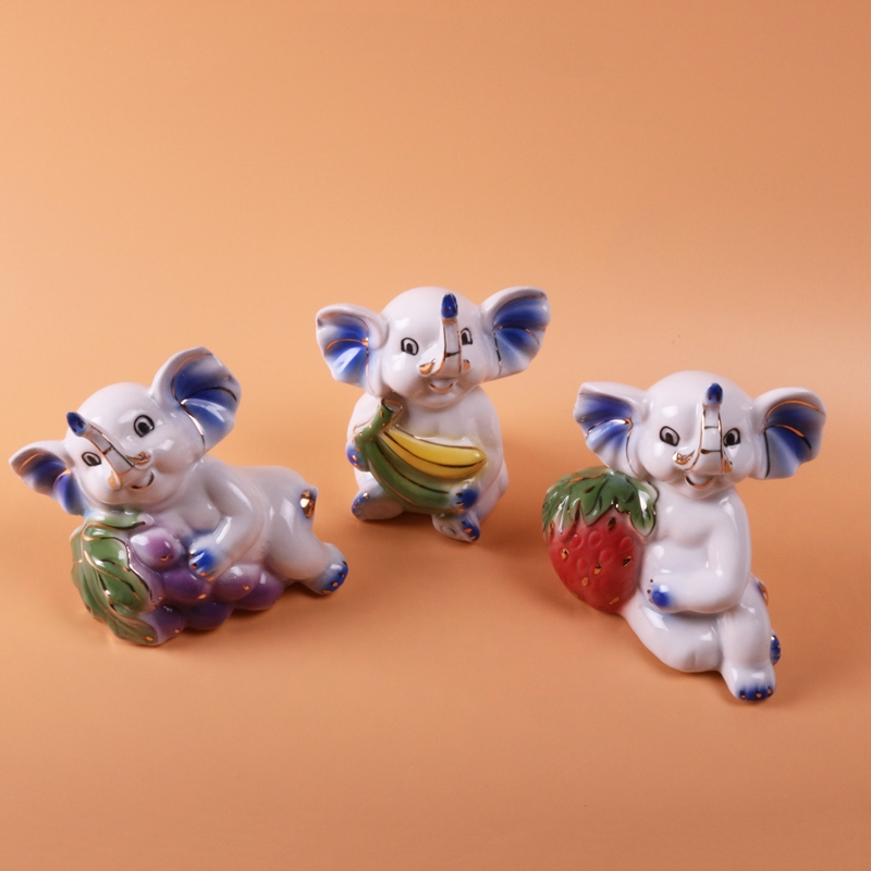 product Lovely Ceramic Decoration Handcraft Animal Miniatures Elephants Ceramic Figurines for Home Decor Decoration Articles Friend Gift