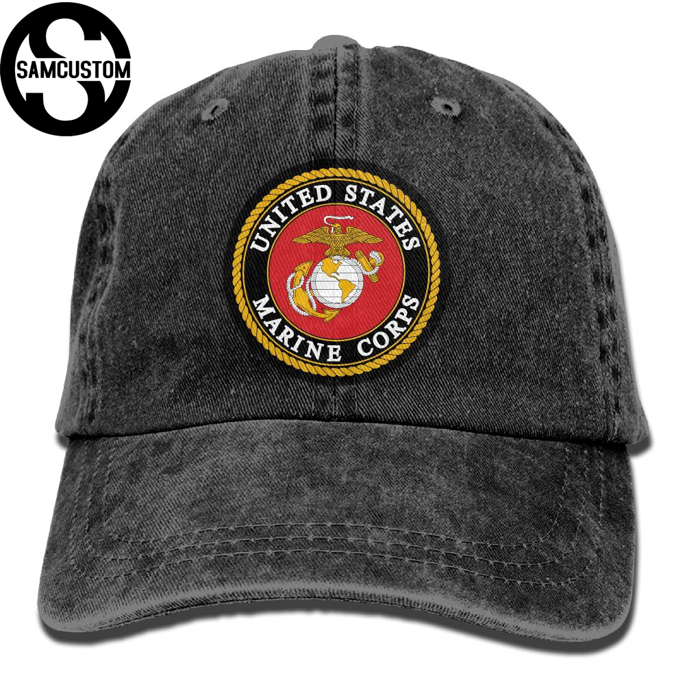 SAMCUSTOM United States Marine Corps-USMC 3D personality Washed Denim Hats Autumn Summer Men Women Golf Sunblock Hockey Caps