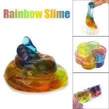 Kid Fun Novelty Toy Gift Anti-stress Boy Girl Adult Rainbow Crysta Jelly Toy Soft Slime Scented Stress Relief Sludge Family Game