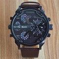 Новый Большой Циферблат двойной раза Мужчины наручные часы открытый спорт Военная кварцевые dz часы человек часы Аналоговый кожаный Relogio Masculino