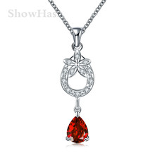Fashion Romantic Silver Plated Red Zircon Water Drop Flower Pendant Shape Pendant Necklaces Charming Women For Lover SHNE0202