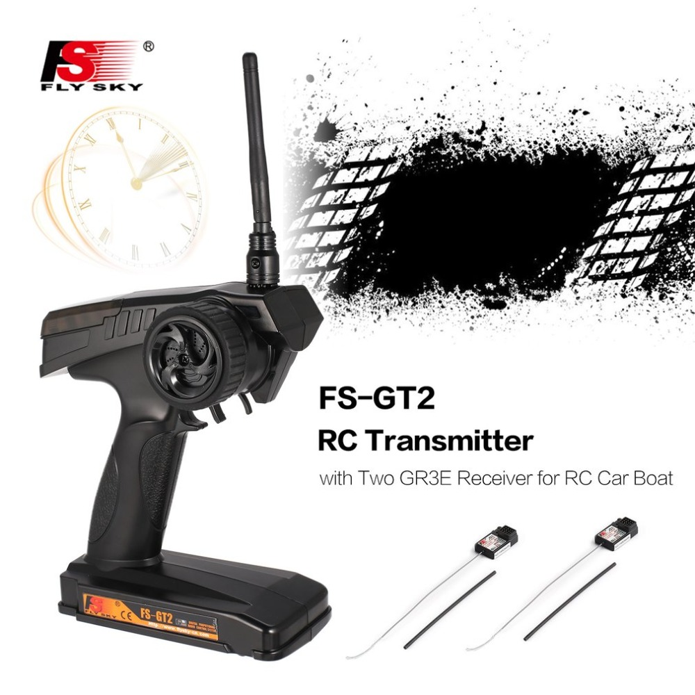 2.4G FS-GT2 2CH AFHDS Gun Radio Model RC Transmitter Remote Controller with Two FS-GR3E Receiver for RC Car Boat Model Toy Parts