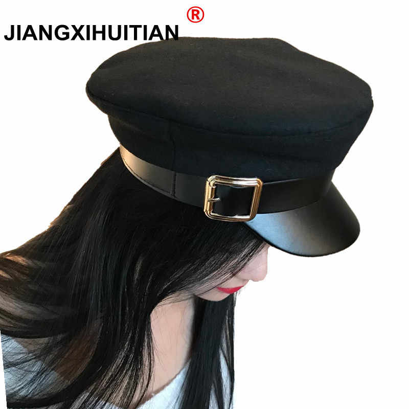 dce808857f50c6 Fashion wool Solid Visor Military Hat Autumn and Winter Vintage Patchwork  PU Beret Cap For Women