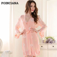 8a9390bd52f99 Robe Sexy Nightgown And Robe Set Gecelik Women Long Silk Robe Ensemble De  Nuit Taille Forte