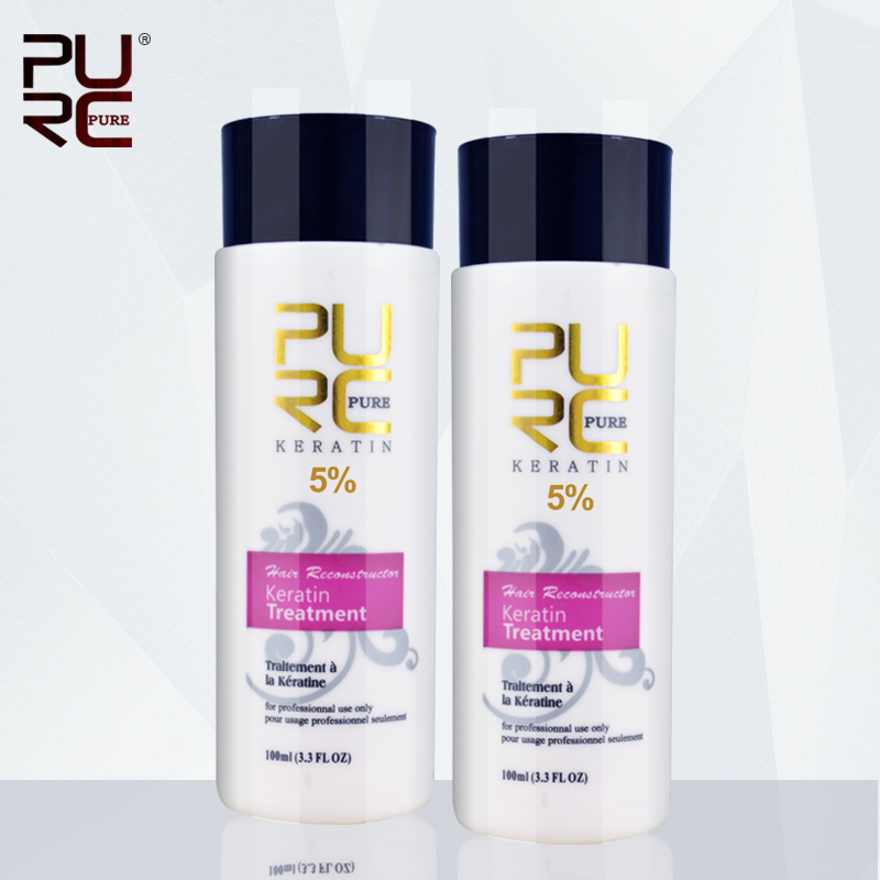 PURC 2pcs 100ml Keratin straightening and hair treatment Brazilian keratin treatment formalin 5% hair straightener стоимость