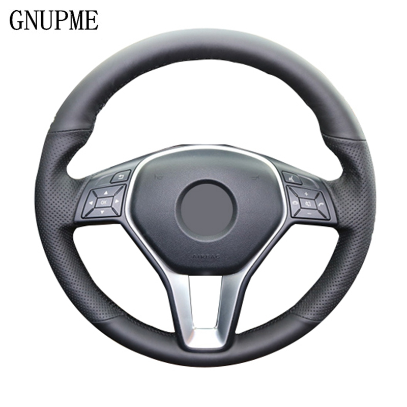 GNUPME Artificial Leather Hand-Stitched Black Car Steering Wheel Cover for <font><b>Mercedes</b></font> Benz E200L gla cla gle c200l C200 C250 <font><b>C300</b></font> image