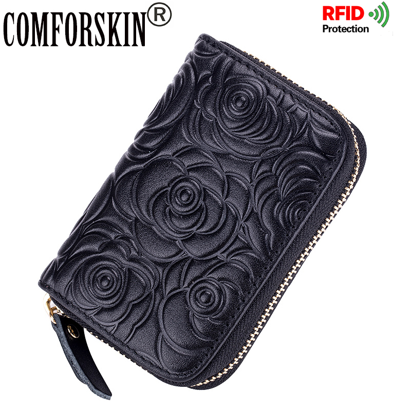 COMFORSKIN Premium 100% Genuine Leather Embossing Rose RFID Protection ID Card Case Women Credit Card Holders 2018 Card Wallets