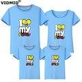 Vidmid camisetas família 2017 de verão da família roupas combinando família olhar t-shirt t-shirt para o filho pai mãe filha crianças 6001 27