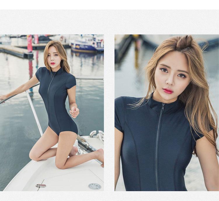 LYSEACIA Black Sexy Women Swimwear One Piece Suits Beach Wear Push Up Swimsuit Zipper New Short Sleeve RASHGUARD Swimming Suit 9