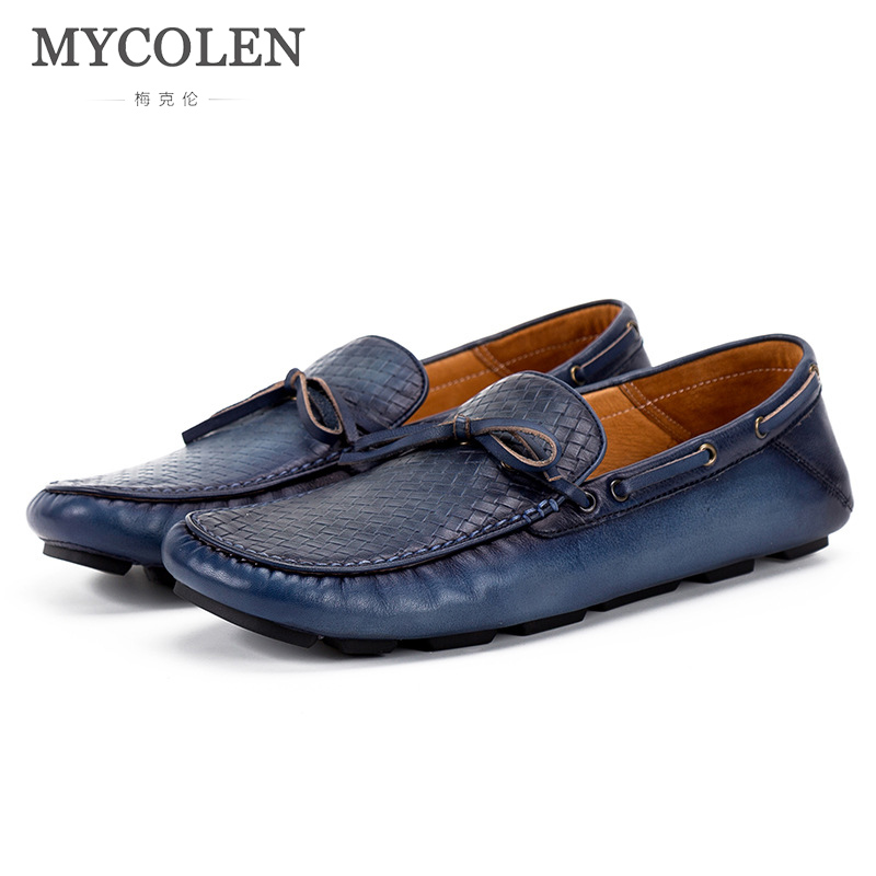MYCOLEN Brand Fashion Spring/Autumn Style Soft Moccasins Men Loafers High Quality Genuine Leather Shoes Men Flats Boat Shoes mycolen spring autumn men loafers genuine leather casual men shoes fashion crocodile pattern driving shoes moccasins flats