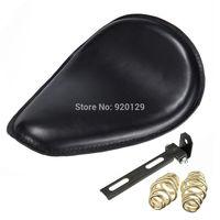 Motorcycle Black leather Bracket Springs Softail Solo Seat for Harley Honda Yamaha Sportster Bobber