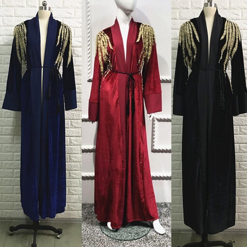 Abayas For Women Kaftan Velvet Abaya Turkey Muslim Hijab Dress Qatar Ramadan Caftan Marocain Robe Dubai Turkish Islamic Clothing