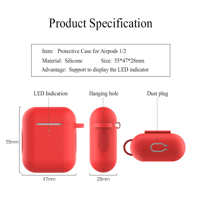 Image 2 - Silicone bluetooth earphone case for apple airpods 2 air pod accessories 1:1 silicone case cover protective skin with keychain-in Replacement Parts & Accessories from Consumer Electronics