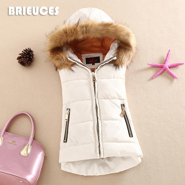 Outono e inverno 2016 colete de algodão com um capuz colete de algodão patchwork feminino reversível jaqueta de inverno mulheres