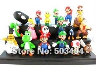 "Wholesale 18PCS Super Mario Bros 1-2.5"" Figure Toy Doll Super Mario Brothers Fun Collectible PVC figures Super mario Figures DHL"