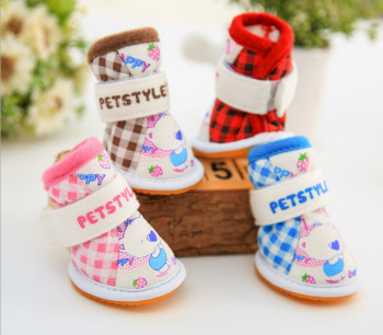 Pet Shoes Plaid Bear Dog Boots Shoes Yorkie Maltese Chiwawa Dog Shoes Puppy Pet Shoes Clothing For Dogs Cat Clothes 4 PIECES/SET