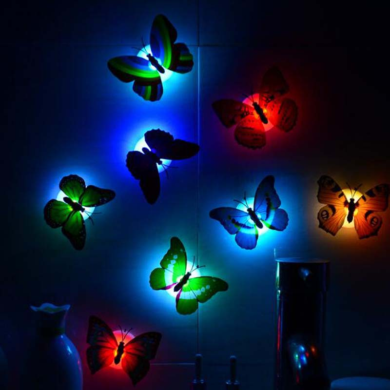 Led Colorful Butterfly Night Lights Baby Kids Bright