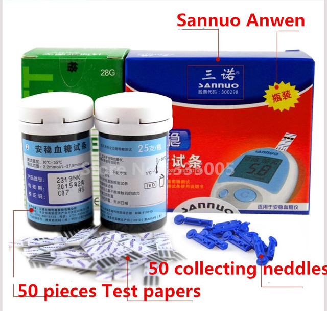 Sanuo Branded Tablets Glucometer Rapid Detection Sannuo 50 Test Paper wirh 50 Collecting Needles Lancets