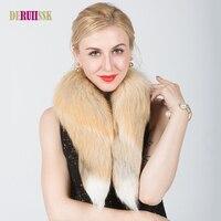 90センチ冬のファッション暖かい本物のリアルフォックス毛皮首輪用コートジャケット女