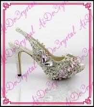 Aidocrystal Heißer! 2016 weiß Kristall Sexy Frauen Sandalen 8 cm Höhen Ferse Damen Pumpt Schuhe Frau Alias Femme Sommer stil